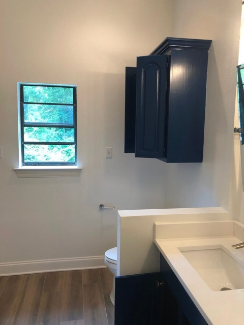 Custom cabinets in bathroom