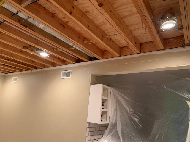 Ceiling being installed