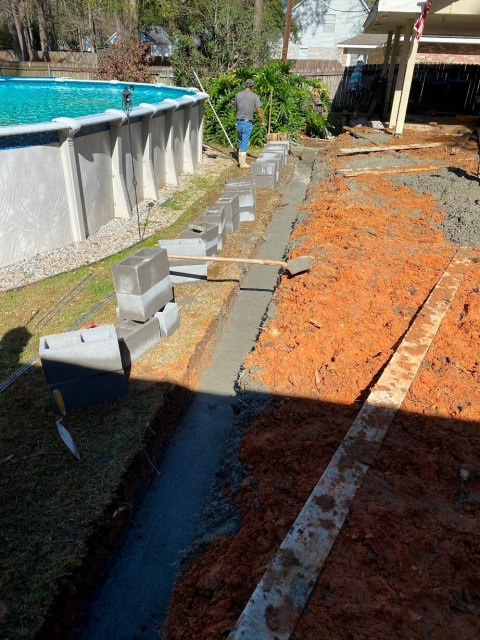 Cement work near pool