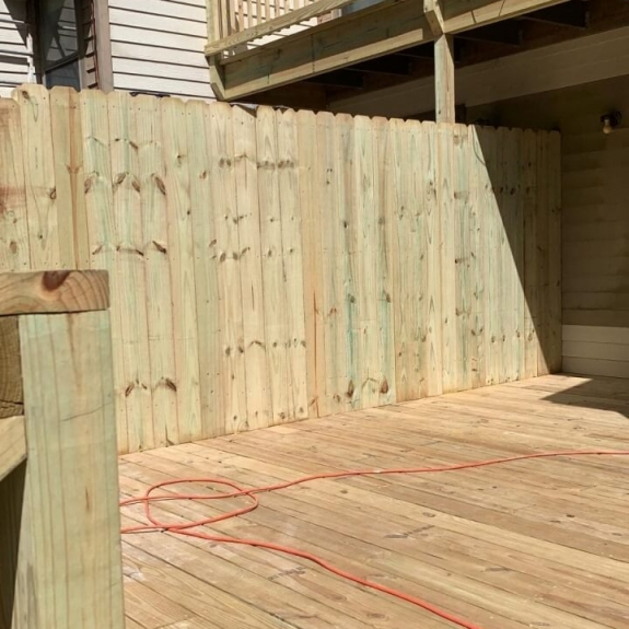 Framing wooden deck outdoors