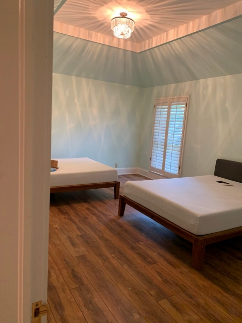 New beds in a bedroom