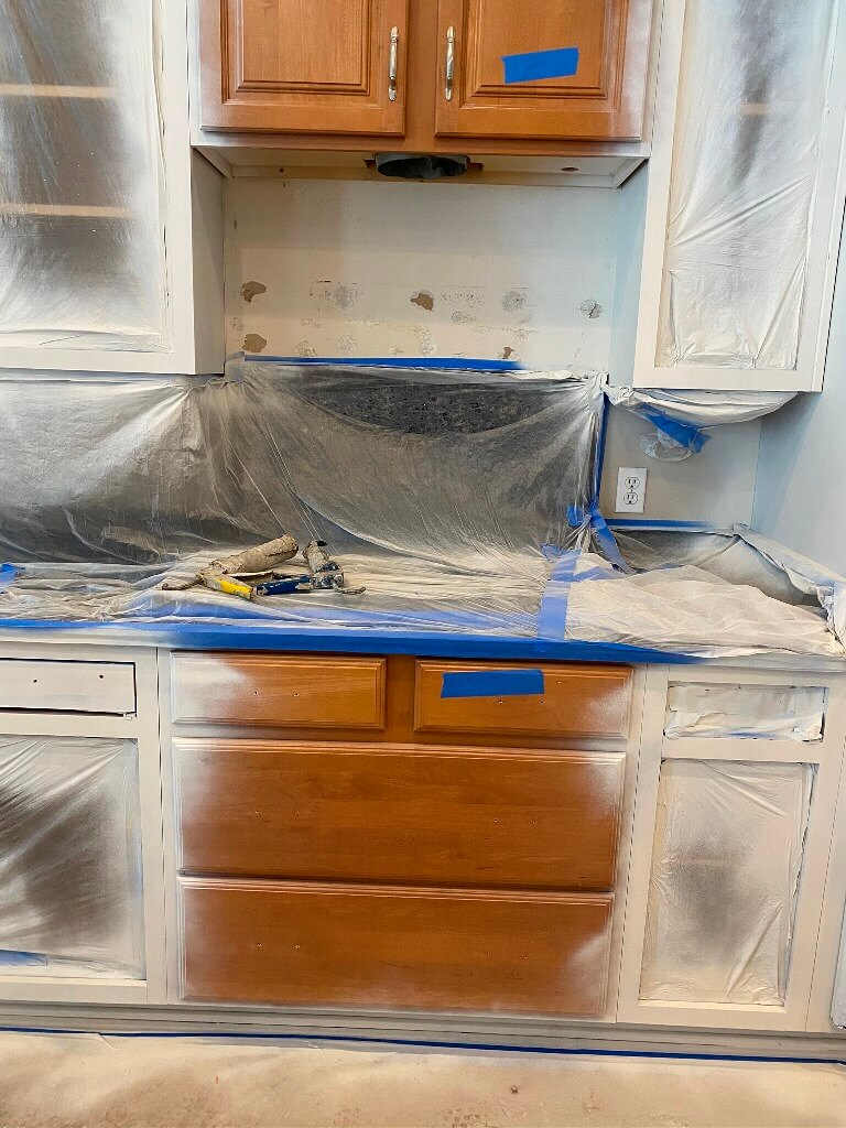 Cabinets being painted