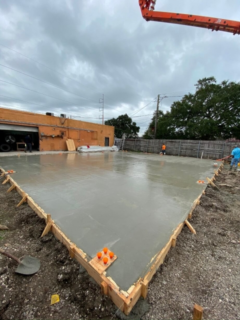 Freshly poured cement